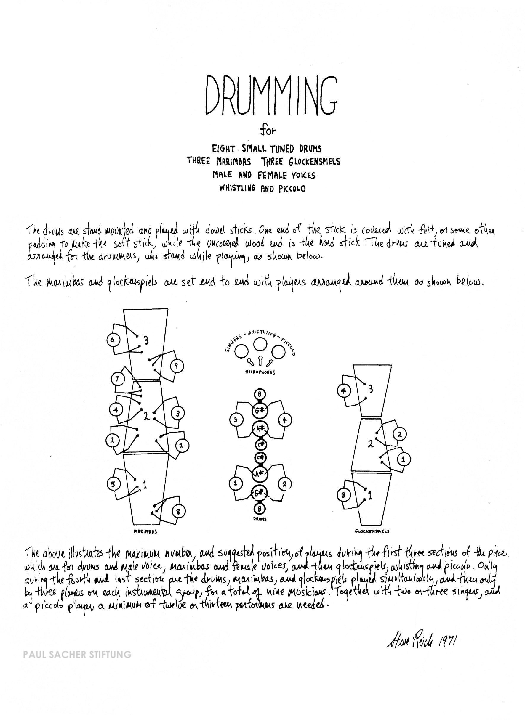 Cover of manuscript score to Drumming, (Steve Reich Collection, PSS, Basel).