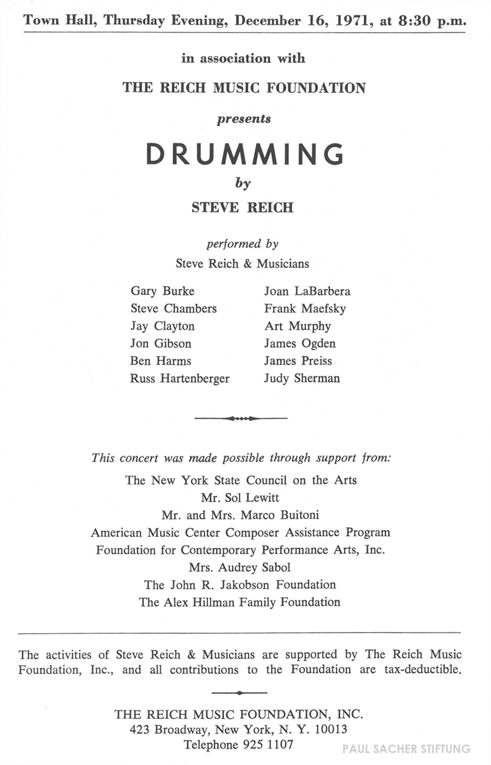 Program for Town Hall premiere of Drumming