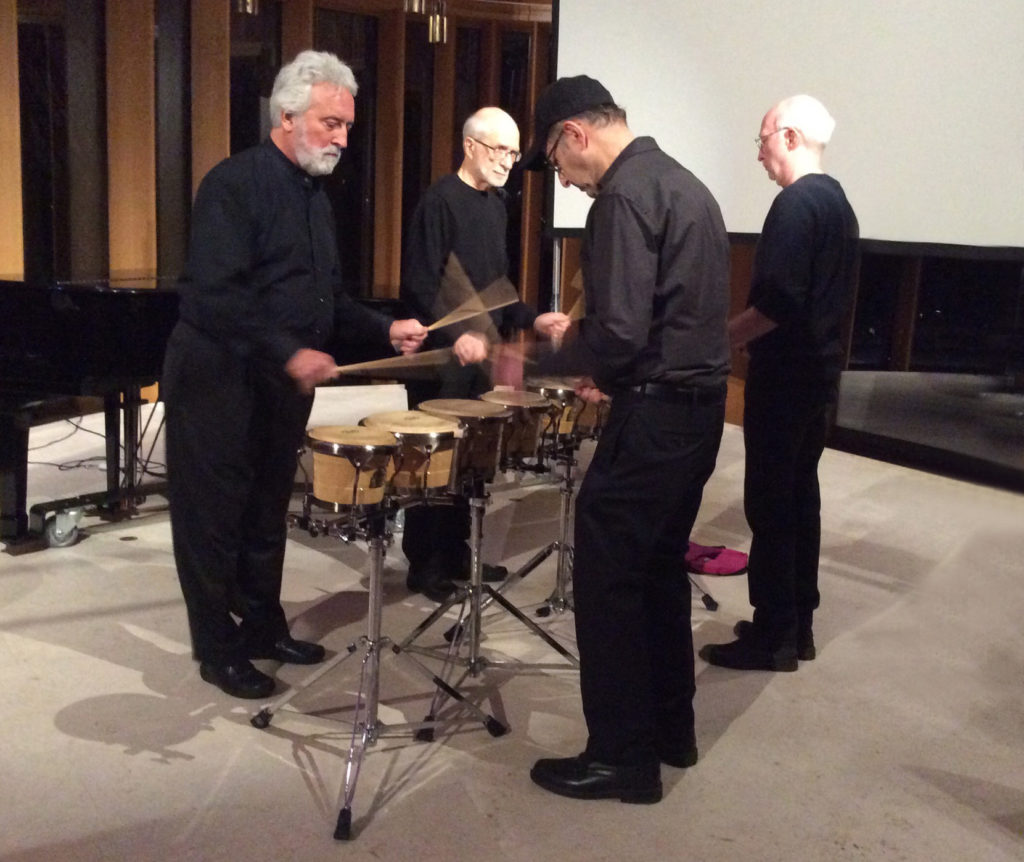 Garry Kvistad, Russell Hartenberger, Steve Reich, Bob Becker playing Drumming, Pt. I, Integral House, Toronto, April 11, 2016. Photo courtesy of Soundstreams Canada.