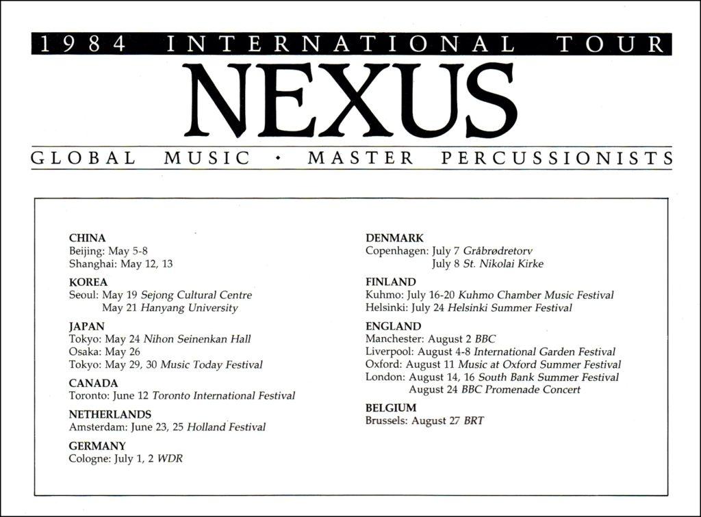 Nexus 1984 International Tour Schedule
